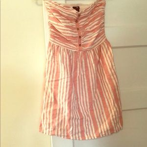 Pink and white striped strapless dress